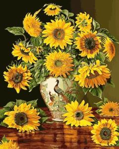 Картины по номерам Подсолнухи в вазе с павлинами