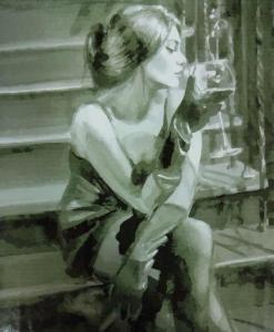 Картины по номерам Девушка с бокалом на лестнице