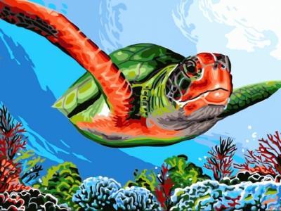 Картины по номерам Зелёная черепаха