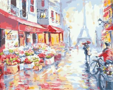 Картины по номерам Цветочная улица в Париже