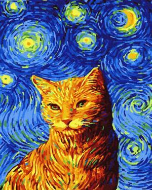 Картины по номерам Кіт в зоряну ніч