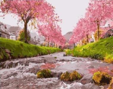 Картины по номерам Река у сакуры