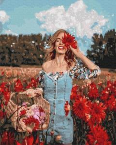 Картины по номерам Красавица в цветущем поле