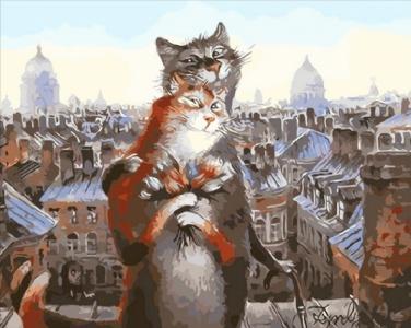 Картины по номерам Коты романтики