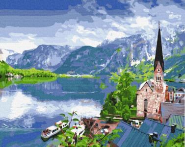 Картины по номерам Вид на гірське озеро
