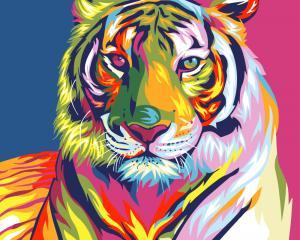 Картины по номерам Тигр поп арт