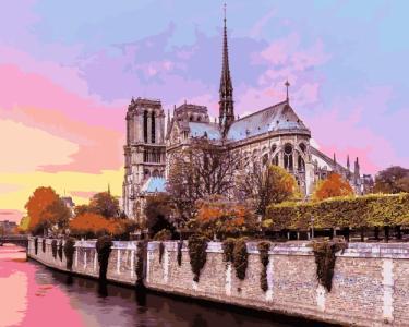 Картины по номерам Рассвет над собором Парижской Богоматери