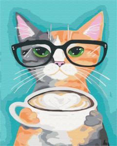 Картины по номерам Кот и кофе