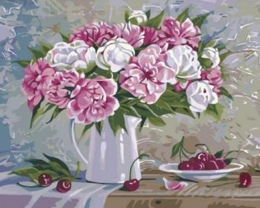 Картины по номерам Пионы и вишни 2