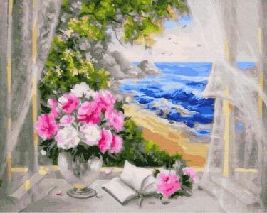 Картины по номерам Цветы у моря