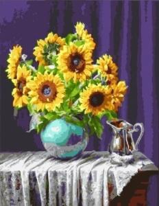 Картины по номерам Подсолнухи в вазе