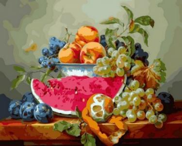 Картины по номерам Натюрморт с арбузом и виноградом