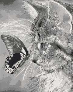 Картины по номерам Котёнок и бабочка