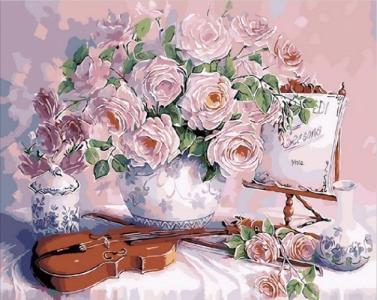 Картины по номерам Скрипка и розовый букет