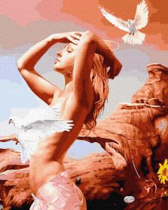 Картины по номерам Дівчина з голубками