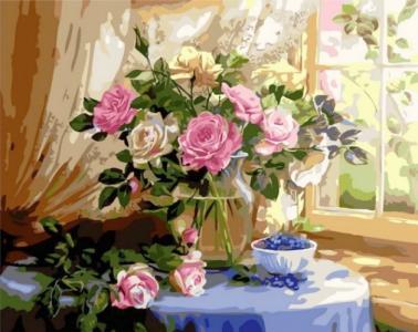 Картины по номерам Натюрморт с розами и черникой