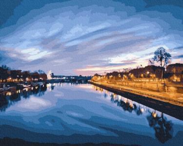Картины по номерам Вид на нічну ріку
