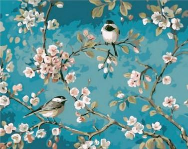 Картины по номерам Синички на яблоне