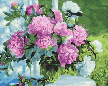 Картины по номерам Букет пионов в саду
