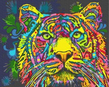 Картины по номерам Цветной тигр