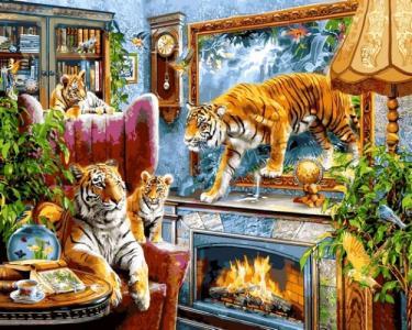 Картины по номерам Тигры
