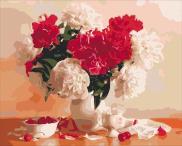 Красно-белые пионы и вишни