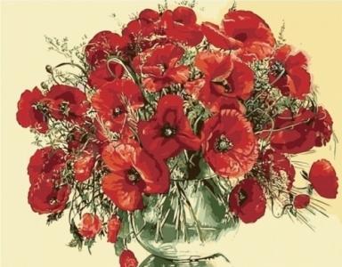 Картины по номерам Красные маки в стеклянной вазе