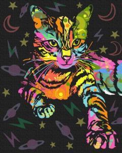Картины по номерам Неоновая кошка