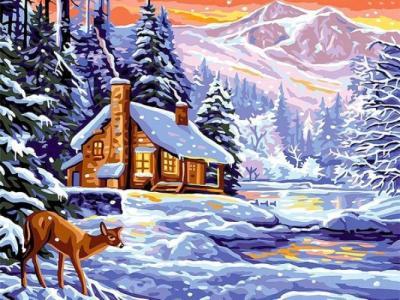 Картины по номерам Шале зимой