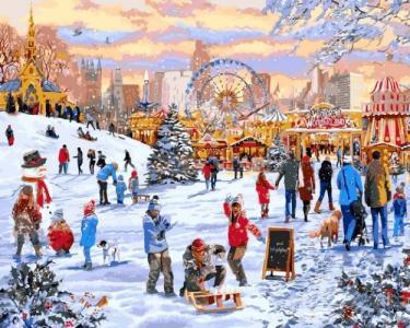 Картины по номерам Зимние гуляния