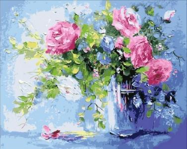 Картины по номерам Небесно-розовый букет