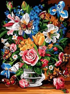 Картины по номерам Букет и бабочки