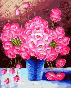 Картины по номерам Розовые цветы в синей вазе