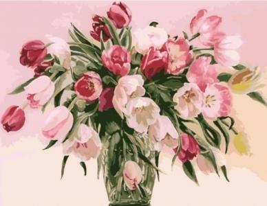 Картины по номерам Тюльпаны в вазе