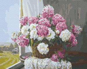 Картины по номерам Букет пионов у окна