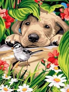 Картины по номерам Птичка и любопытный щенок