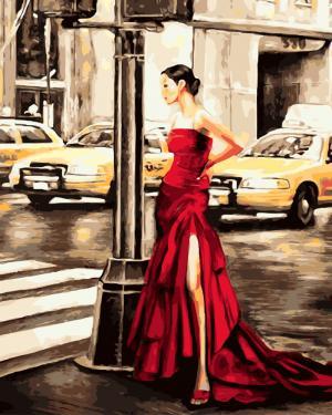 Картины по номерам Девушка и желтое такси
