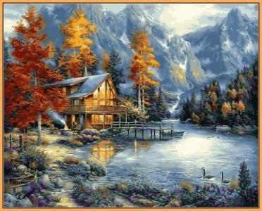Картины по номерам Дом в горах