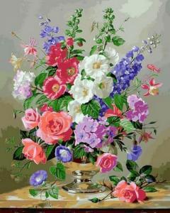 Картины по номерам Дельфиниум и коралловые розы