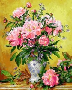 Картины по номерам Пионы в изящной вазе