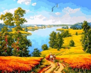 Картины по номерам Дорога среди полей