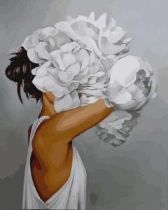 Картины по номерам Женщина в пионах. Эми Джадд