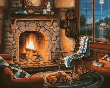 Картины по номерам Осенний вечер у камина