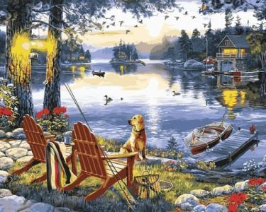 Картины по номерам Рыбалка с собакой