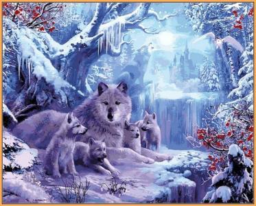 Картины по номерам Волчья зима (в раме)