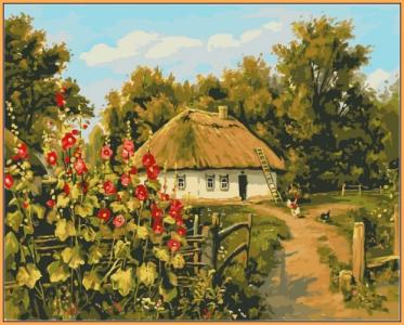 Картины по номерам Сельская хатка  (в раме)