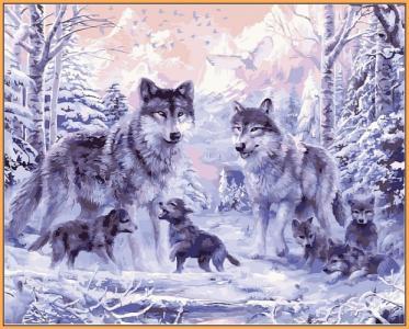 Картины по номерам Волчье семейство (в раме)