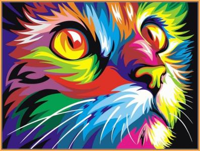 Картины по номерам Радужный кот (в раме)