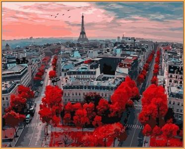 Картины по номерам Алые краски Парижа (в раме)