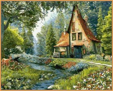 Картины по номерам Дом на опушке леса (в раме)